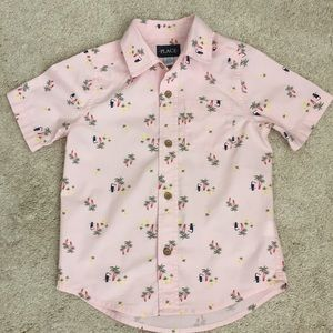 Children's Place tropical themed button down shirt